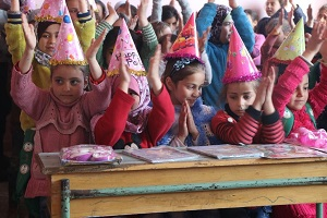 A classroom sponsored by Syria Relief and Development