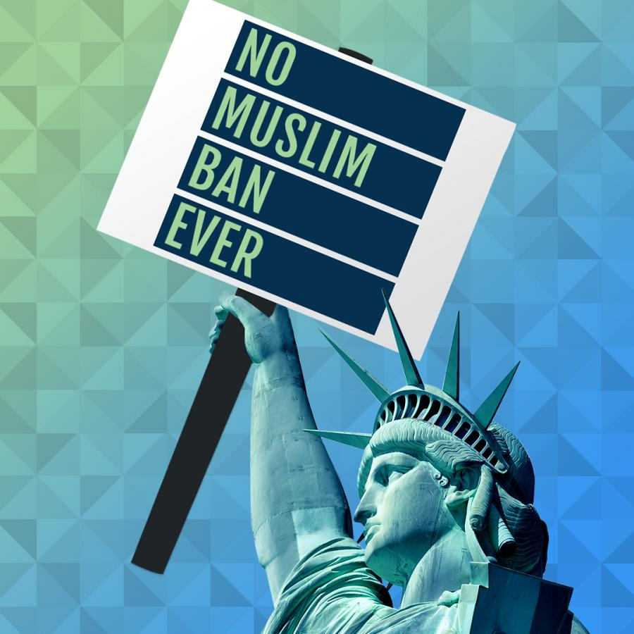 "Statue of Liberty Holding a sign saying ""No Muslim Ban Ever"""